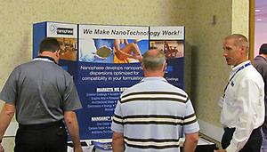 Mark Clark, Account Manager for Coatings at Nanophase, talks with customers at CTT 2011.