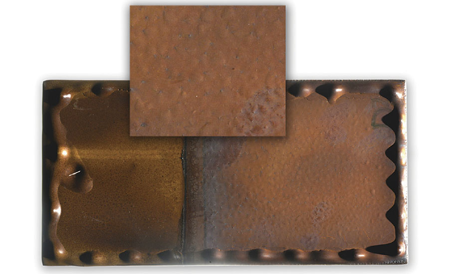Epoxy coating on steel that shows blistering and cracking (right) after exposure to 175 C (350 F) deionized water for 28 days. The top picture is a zoomed in section of the right side of the panel, which was fully immersed.