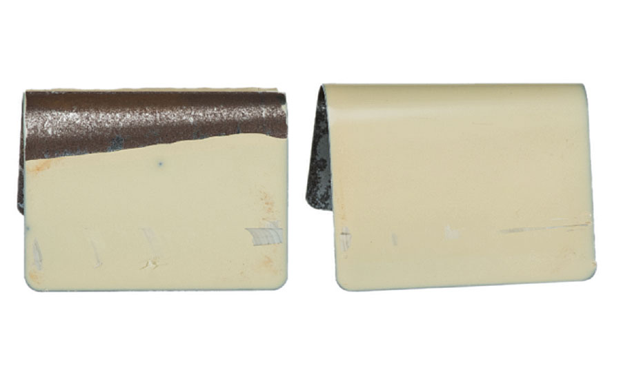 Conical mandrel bend test results showing cracking and delamination of bis-A epoxy coating. The epoxy-silicone hybrid passes