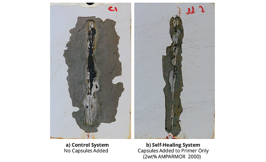 Adhesion loss from scribe for coated standard CRS panels after 1,000 hrs of salt fog exposure.
