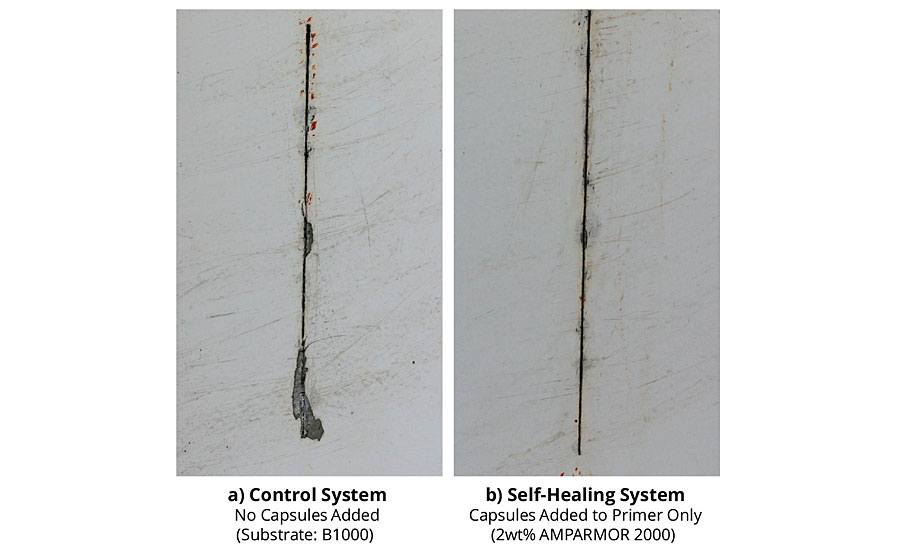 Adhesion loss from scribe for coated B1000 pretreated CRS panels after 1,000 hrs of salt fog exposure.