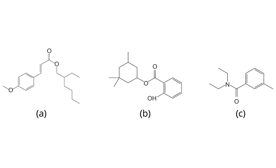 Chemical structure of ingredients of the test solution, (a) 3-(4-Methoxyphenyl)-2-propene acid-2-ethylhexyl ester, (b) 3,3,5-Trimethylcyclohexyl Salicylate and (c) N, N- Diethyl-m-toluamide