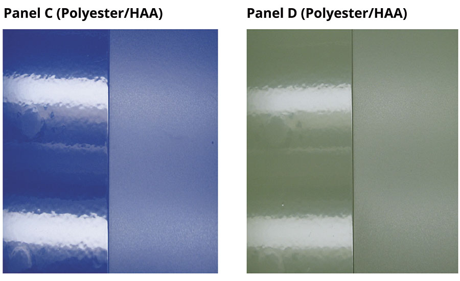 Photos showing the change from a glossy to a matte surface with the use of the post-addable additive