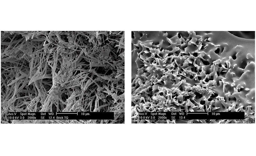 Scanning electron microscope (SEM) photo of a very porous substrate before and after impregnation with nanolatex