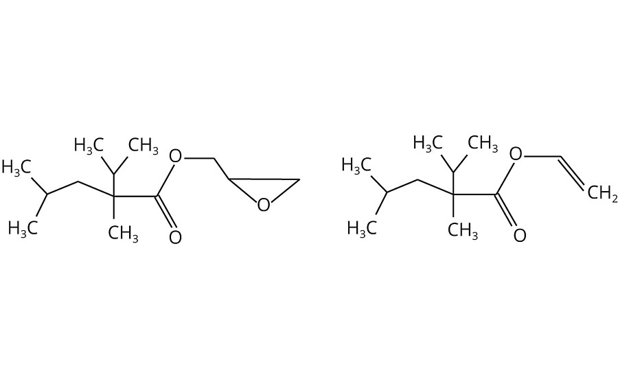 Typical structures of glycidyl neodecanoate and vinyl neodecanoate with five methyl groups