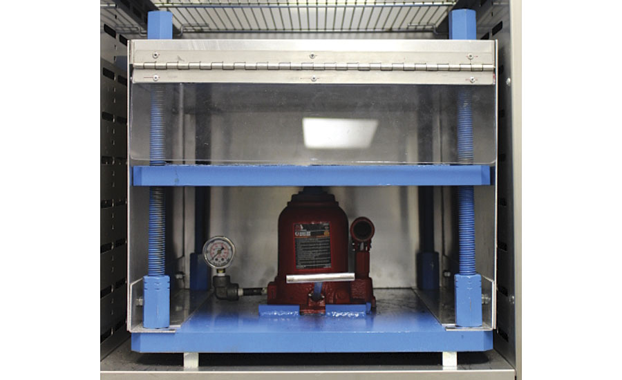 Hydraulic press used for new hot tire pick-up testing
