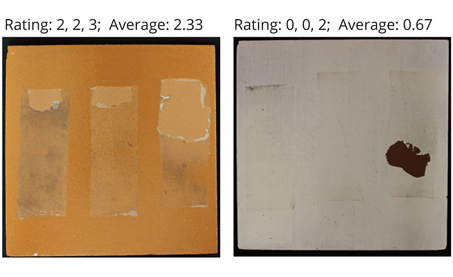 Examples of delamination ratings on quarry tiles with a clear coat (left) and pigmented coating (right).