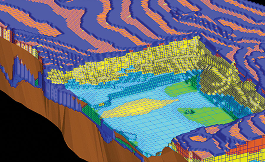 3D models of the mineral deposit enable mine planners and engineers to plan the best way to extract the minerals to achieve the desired properties.