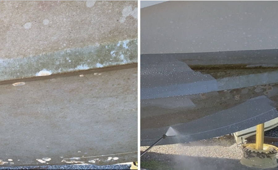 (Left) SLIPS-painted ship hull after six months of use without cleaning, showing only a light level of slime fouling. The empty circular areas indicate the self-cleaning effect of the hull where a large macro fouling organism (encrusting bryozoans) was attached initially but released because of weak adhesion force. (Right) The light slime-covered hull can be quickly cleaned with a low-pressure water jet without any chemicals.