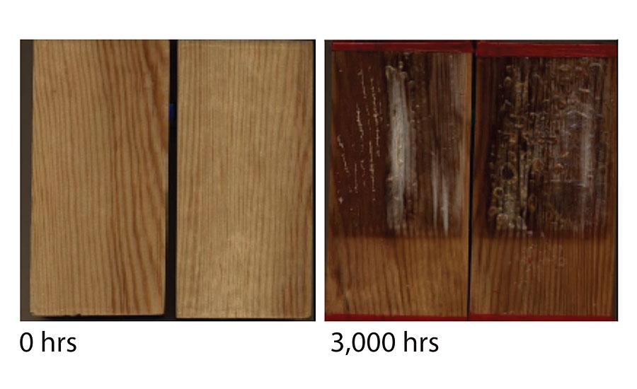 Non-stabilized PUR formulation before and after 3,000 hrs of exposure.