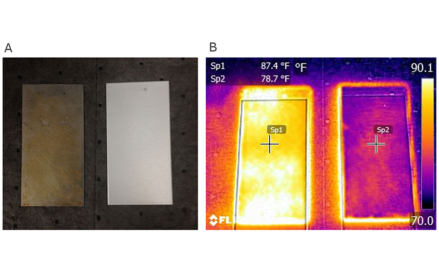 A) Rusted steel (left) and PetraForge-coated steel (right), B) FLIR images of the same pieces showing average reflectivity of 13% and 80%, respectively.