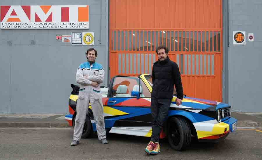 From the left: Toni Chinchilla and Jaime Gili and Cromax finished car; a project by Jaime Gili, courtesy of Jaime Gili Studio