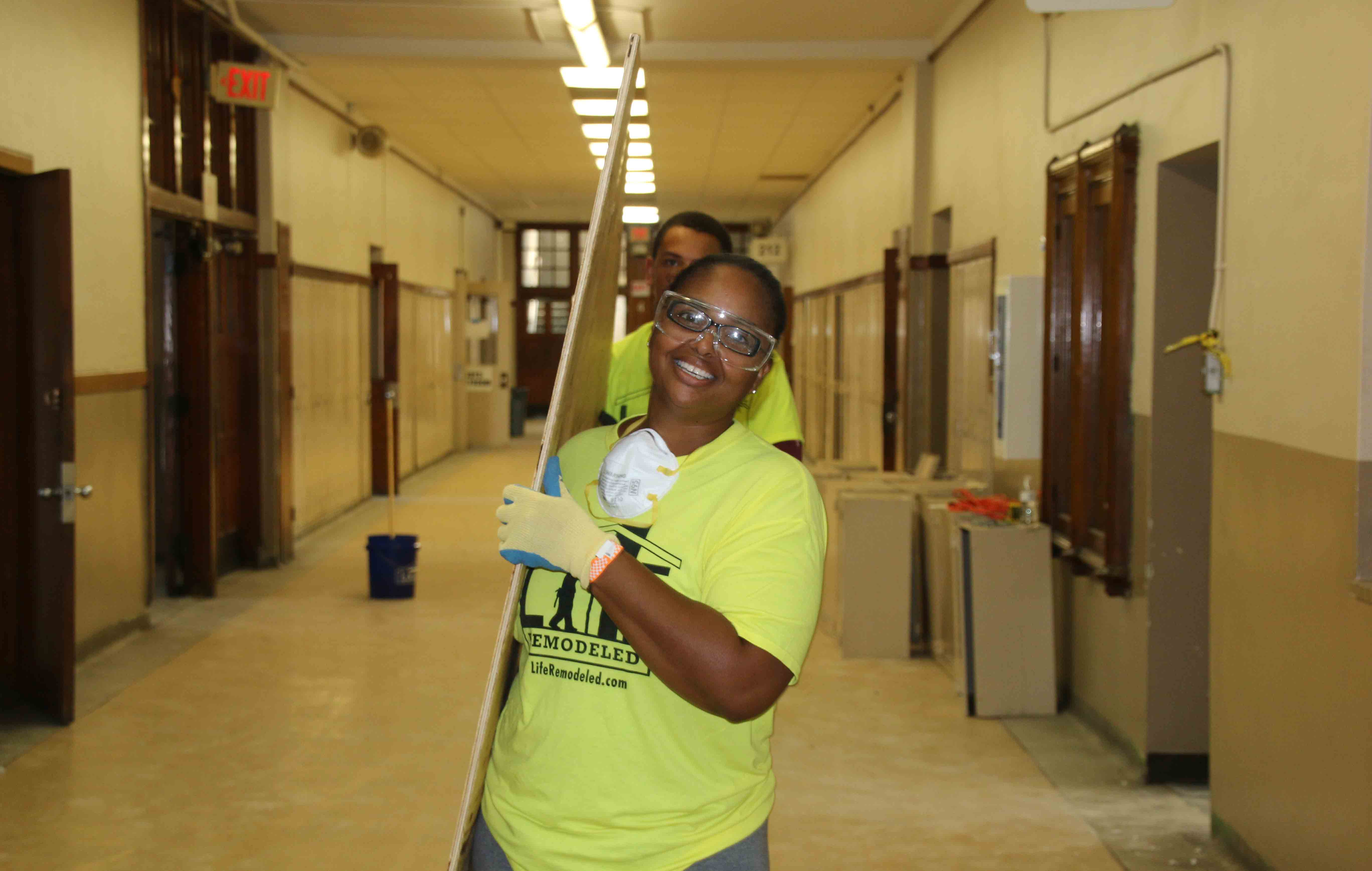 BASF employee helps at Durfee Middle School