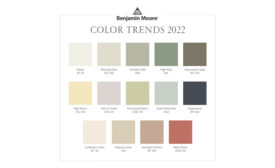 Image showing the colors in Benjamin Moore's Color Trends 2022 palette