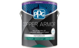 Can of PPG COPPER ARMOR antimicrobial paint containing Corning Guardiant technology